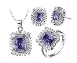 2018 женщин мода комплект ювелирных изделий платины покрытием площади фиолетовый Кристалл ожерелье серьги кольцо набор женщин Шарм cz аксессуары gf подарки 1 комплект