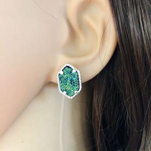 Серьги для женщин посеребренные гексагональной натуральный камень Стад серьги Серьги Druzy камень серьги ювелирные изделия