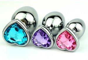3 크기 새로운 남여 매력 심장 - 모양의 크리스탈 보석 금속 항문 엉덩이 부티 비즈 성인 BDSM 섹스 아나 스 장난감 제품 9 색
