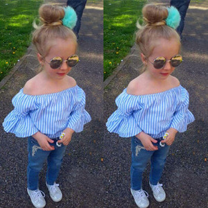 New Girls Cowboys Popular Denim Pants Fashion Striped Blue T-shirts and Long Pants 2pcs Children Suit