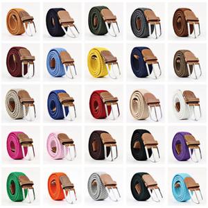 60 Renkler Bayanlar Tuval Kemerleri Erkekler Elastik Kemerler Eğlence Örme İğne Toka Kemerler Sıcak Satış Toptan