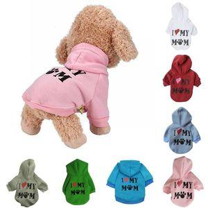 Ropa para mascotas Cachorro Invierno y otoño Sudadera con capucha Suéter Abrigo para perros Sudadera cálida Love My Mom Impreso camisa para perros