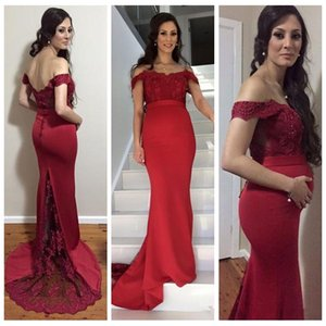 2021 Custom Off Shoulder Dark Red Evening Dresses Mermaid Cap Sleeve Evening Gowns Prom Gowns Low Bare Back Prom Gowns