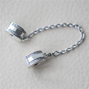 100% authentische 925 Sterling Silber Sicherheitskette Clips mit Logo und Original Box für Pandora Charms Armband Schmuck DIY machen