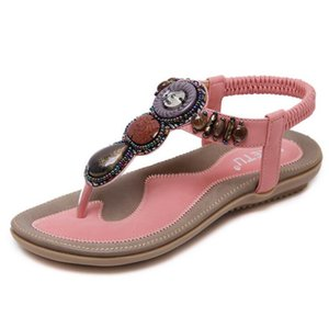 PLUS BIG SIZE:35-42 Bohemian Women Sandals Gemstone Beaded Slippers Summer Beach Sandals Women Flip Flops Ladies Flat Sandals Shoes
