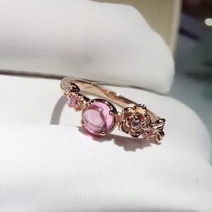 Mode Simple 18K Or Rose Créé Gemstone Hibiscus Pierre Mariage Bague De Fiançailles Fleur Taille 5 - 12