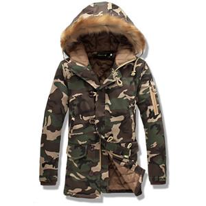 FANTUOSHI 2017 Nova Camuflagem Grande Tamanho Quente Outwear Casaco de Inverno Longa seção Homens À Prova de Vento Capuz Homens Jaqueta Parkas Quentes