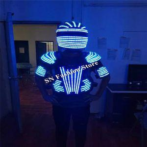 L99 LED helmet ballroom dance led costumes mens robot dance clothes led suit helmet party stage show dj singer wears lighting performance