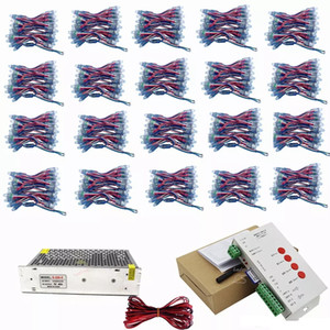 1000 unids WS2811 IC LED Pixel Modules Set DC 5V 12mm IP68 RGB direccionable difuso + controlador T1000S + adaptador de corriente