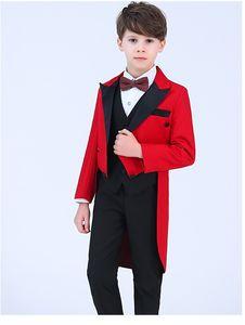 تصميم جديد الأحمر يرتدى الصبي الرسمي ارتداء وسيم الصبي كيد ملابس الزفاف حفلة عيد دعوى (سترة + سروال + التعادل + سترة) 25