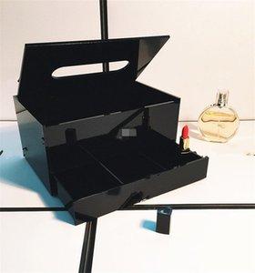 Negro de escritorio de acrílico del tejido del estante elegante maquillaje resistente al desgaste almacenaje de la joyería cajas de cosméticos diseño de moda Caso 108kt ZZ