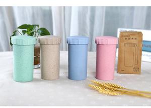 kundenspezifisches logo 450 ml Weizen Stroh wasserflasche Portable Umweltfreundliche Kunststoff Tasse Student getränk tasse Büro teacup kaffeetasse BPA frei