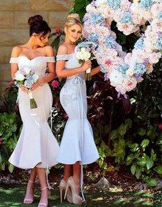 2018 современный шик короткие Русалка невесты Платья Sexy Off плечи аппликации фрейлина платья коктейль Пром платье чай длина