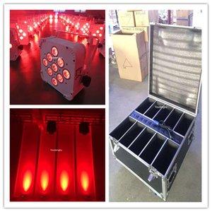 10 lotto led par 9x18W RGBAW-UV 6in1 dmx batteria senza fili powerd led uplights con custodia