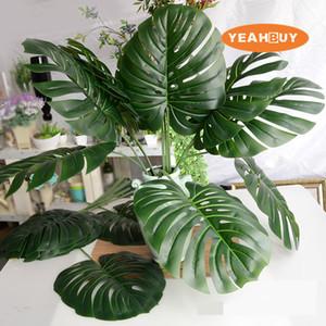 10pcs simulation artificielle à deux couleurs Big Monstera Turtle back leaves feuilles de jardinage faux accessoires de fleurs pour la décoration