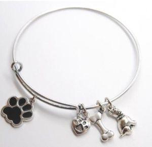 Vintage argent émail chien patte impression os coeur charmes extensible fil Bracelet mariage manchette bracelets pour les femmes bijoux cadeau NOUVEAU Accessoires
