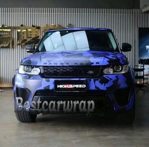 ubran أزرق أسود Camo VINYL Full Car Wrap Camouflage Feel Stickers مع شاحنة Camo تغطي رقائق معدنية الحجم 1.52 × 30m / 5x98ft