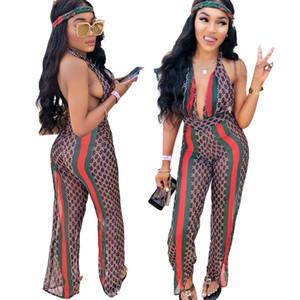 Sexy Halter Backless Decote Em V Profundo Malha Jumpsuit Sexy Halter Romper Mulheres Impresso Playsuit Verão Verde e Vermelho Stripe