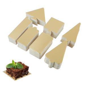 Delidge Golden Mousse Cake Boards Rechteck Weihnachtsbaum-Form-Papier-Kuchen Basispolster-Kuchen-Dekoration-Werkzeug 400pcs / set