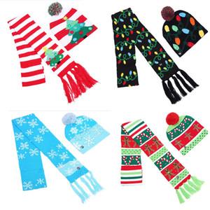 Рождество светодиодная вязаная шапка шарф набор мигающий свет шапочка шарфы комплект шапка для снежинка лось олень рождественская елка реквизит WX9-1081