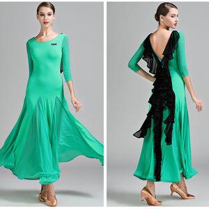 Standard Standard Kleid Flamenco Sexy Backless Lange Röcke Walzer-Tanz-Kleid Led Kostüme Ballsaal-Tanz-Kleidung Frauen DNV10174