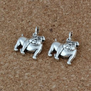 MIC Lindo Bulldog Charms Colgantes 100 Unids / lote 13x17mm Joyería de Moda de Plata Antigua DIY Fit Pulseras Collar Pendientes A-225