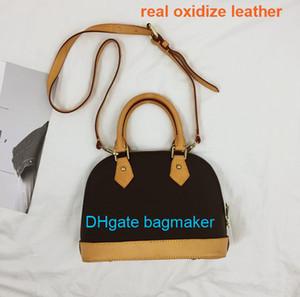 ALMA agradable BB mujeres del bolso de la cáscara verdadera calidad oxidantes bolsas bolsos más damier de piel del hombro con el bolso bolsos de diseño de bloqueo mono crossbody 53152