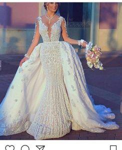 2018 New Luxury Ball Gown arabo abiti da sposa staccabili maniche lunghe in pizzo Appliques che borda Puffy cappella treno Plus Size abiti da sposa