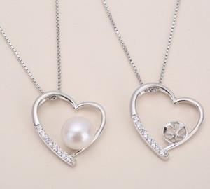 1 pcs zircão definição sólida pingente de prata esterlina, montagem padrão pingente de coração, em branco colar de pérolas, jóias DIY, DIY presente