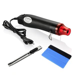 3 unids / set 220 V 300 W Pistola de calor de aire caliente eléctrico UE Plug + Car Scraper Squeegee + Vinyl Cutter Knife Auto Car Vinyl Film envoltura herramientas