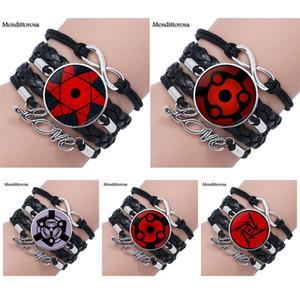 Mendittorosa Occhi Naruto Gioielli in vetro Cabochon in vetro multistrato nero / marrone braccialetto braccialetto in pelle per le nozze