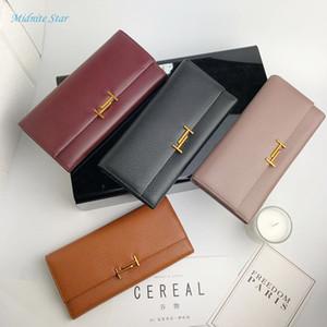 Monedero largo de cuero estilo Midnite Star para damas, monedero simple para damas, monedero limpio, simple y moderno