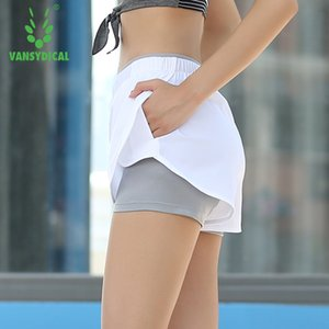 Wholesale-Vansydical S-XL 2 Colors Women's Workout Shorts With Pocket Gym Fitness Stretchy yoga Short for Women Slim black Running Shorts