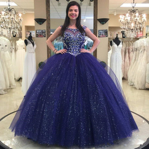 Sparkly Navy Blue Beaded Ball Gown Quinceanera Dresses Crystals Sheer Bateau Neck Sequined Prom Gowns Tulle Rhinestones Sweet 16 Dress
