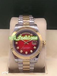 Montre en acier inoxydable de luxe Boutique de mode bi-or pour hommes Dual Calendar calendrier automatique montre-bracelet mécanique Livraison gratuite