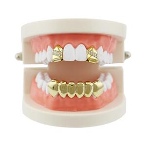 Fashion Gold Denti Griglie Hip hop Singolo dente Clip Top Bottom Grills Dental Uomo Donna Vampire Denti Caps Gioielli partito