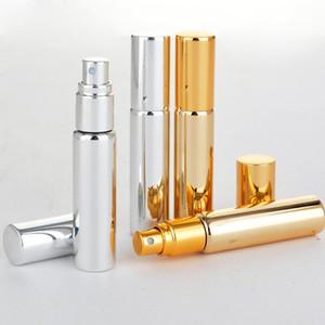 Commercio all'ingrosso 200 Pezzi / lottp 10 ML Portatile UV Vetro Bottiglia di Profumo Riutilizzabile Con Alluminio Atomizzatore Vuoto Parfum Caso Per Viaggiatore
