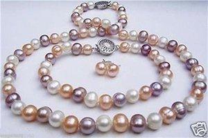 7-8mm weiß rosa lila Süßwasser Perlenkette + Armband + Ohrring 20 7,5 Zoll
