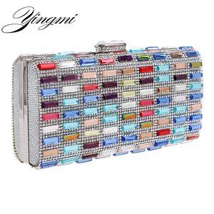 YINGMI Flap Design Women Evening Bag Chain Shoulder Messenger Handbags Acrylic Diamonds Small Day Clutch Box Holder
