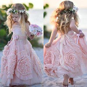 Старинные чешские девушки цветка платья для венчания пляжа Холтер ручной работы Цветы принцессы Маленькие дети день рождения партии Pageant бальные платья