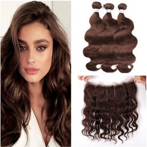 Темно-коричневые девственные бразильские человеческие волосы плетет с полной фронтальной волны тела #4 шоколадно-коричневый 13x4 кружева фронтальной закрытия с 3Bundles