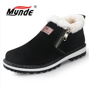 Mynde 2018 recién llegado de moda de invierno de los hombres botas resistentes al tobillo hecho a mano botas calientes de trabajo botas de cremallera hombres zapatos casuales