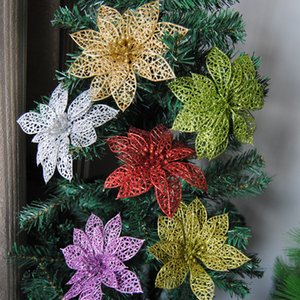 15cm different color artificial hollow christmas plastic butterfly flower with sticky powder rattan for christmas decoration
