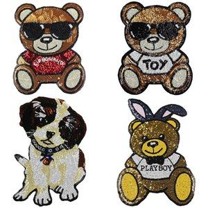 Atacado 10 pçs / lote lantejoulas urso dog patches para roupas diy roupas de costura acessórios bordados dos desenhos animados animais applique