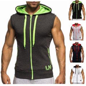 Mens Fitness Crossfit Tank Tops Muskel Bruder männliche Weste schrägen Reißverschluss Männer ärmellose Kapuze Bodybuilding Gyms