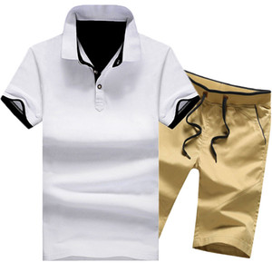Men Casual Tracksuit Size M-4XL Men Set Spring Summer Cotton Male Two Piece Suit Short Sleeve Polo Shirt+shorts 2 Pcs Solid Y58