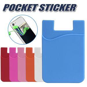 Silicone carteira de cartão de crédito em dinheiro bolso adesivo 3 m adesiva stick-on ID titular do cartão de crédito bolsa para iphone samsung telefone móvel opp pacote