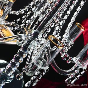 Cristallo acrilico trasparente Candelabri semplice Pratici del metallo del nastro Base Con La Ghirlanda Per nozze Centrotavola buona qualità 200fx dd