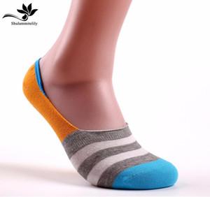 7 paires / lot de chaussettes invisibles en coton pour hommes à rayures bateau anti-dérapant haute qualité pantoufles d'été pantoufles chaussettes invisibles