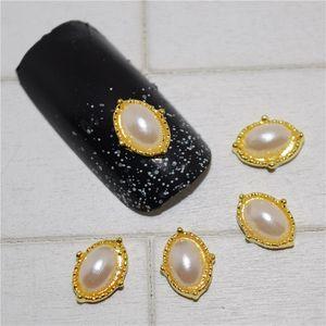 10psc New Golden Horse eye pearl 3D Nail Art Decorations,Alloy Nail Charms,Nails Rhinestones Supplies #210